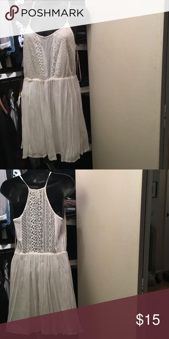 Boho white dress white dress with crochet. Cinched waist Forever 21 Dresses Mini