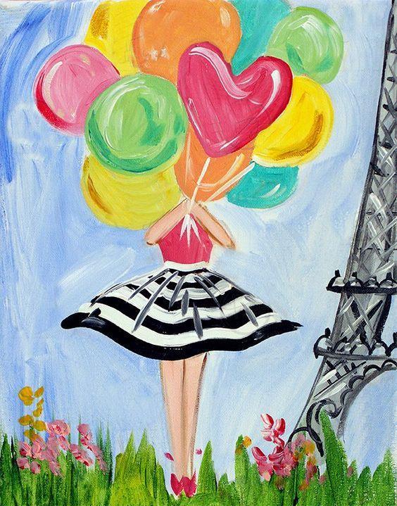 Lady With Balloons Cute Beginner Painting Idea Canvaspaintingbeginner