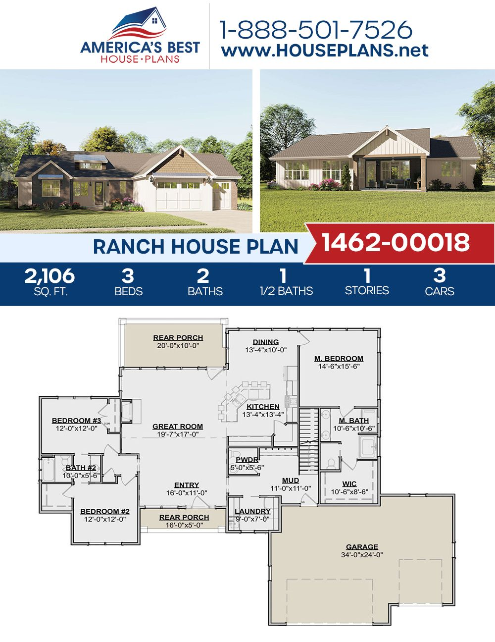 House Plan 1462 00018 Ranch Plan 2 106 Square Feet 3 Bedrooms 2 5 Bathrooms Ranch House Plan Exclusive House Plan Floor Plans Ranch