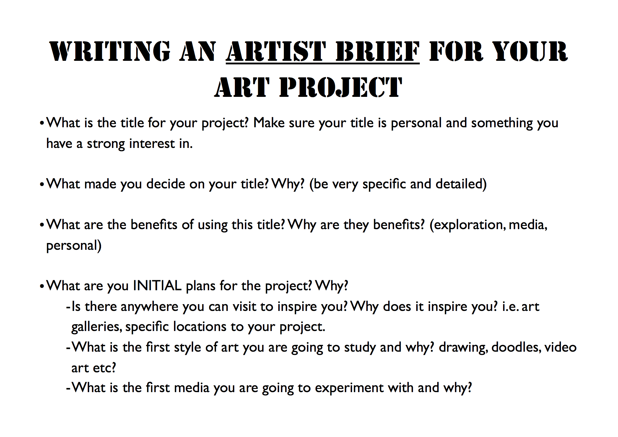Guidelines Of How To Write An Artist Brief For The