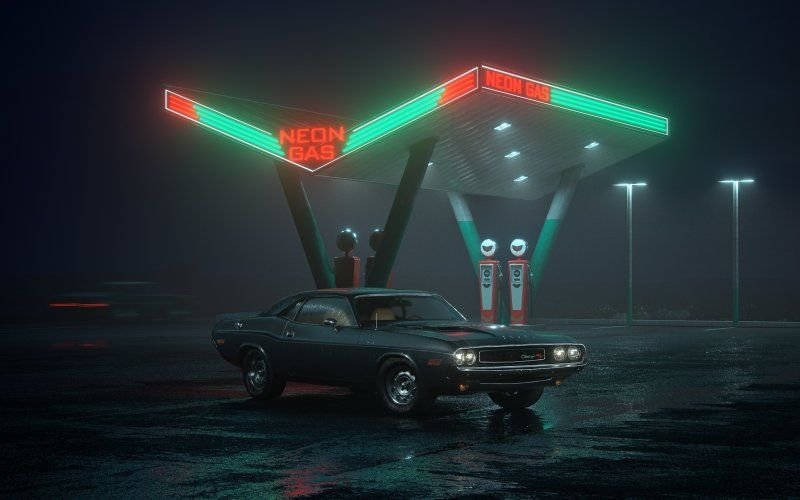 Dodge Challenger Muscle Car Night Gas Station Art Cars