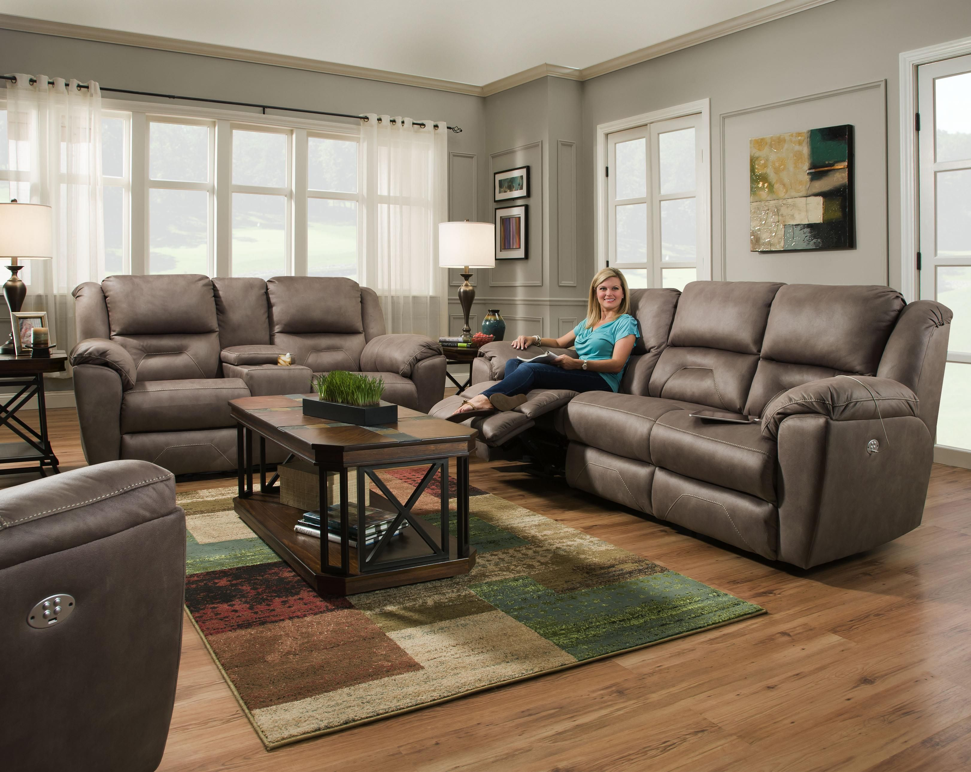 Double Rec Console Sofa With Power Headrest Brown Furniture Living Room Living Room Sets Living Room Leather