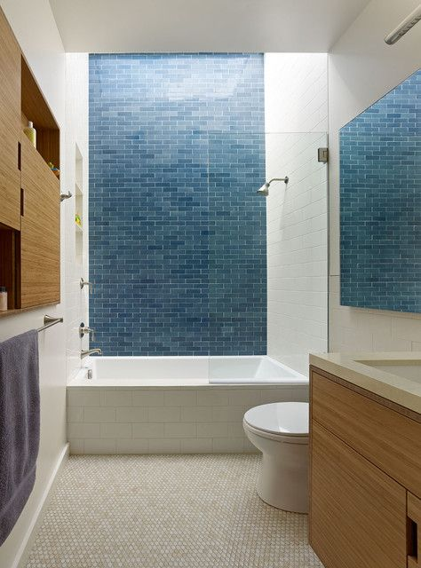 Pin By Emily Epstein On Bathrooms Blue Bathroom Tile Simple Bathroom Renovation Small Bathroom
