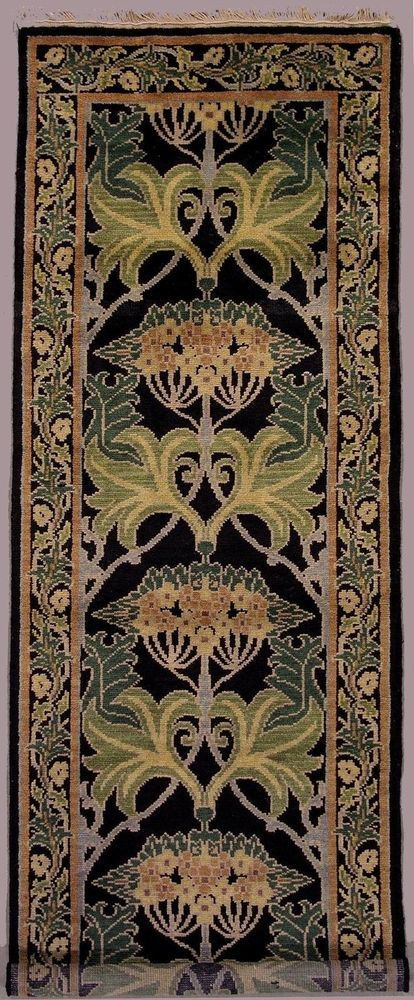 Hand Knotted Wool Runner Or Area Rug In Black Design By William