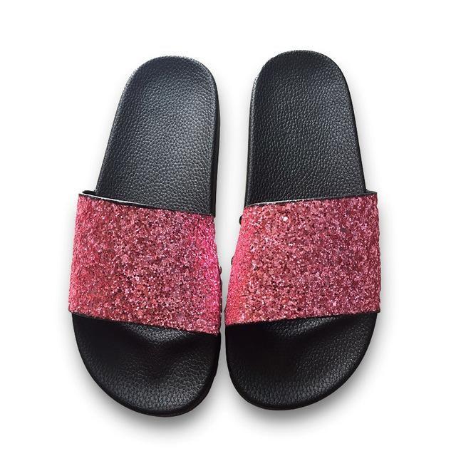 fcc0efa9efcff COOLSA New Summer Women s Slippers PU Bling Slides Rivet Flat Soft Bottom  Sandals Home Flip Flops Female Tap Casual Beach Shoes