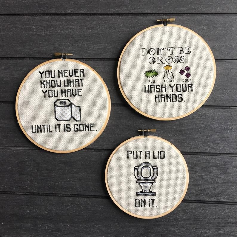 Photo of 3 Bathroom Humor Cross Stitch Patterns On Sale Charts Instant Downloads