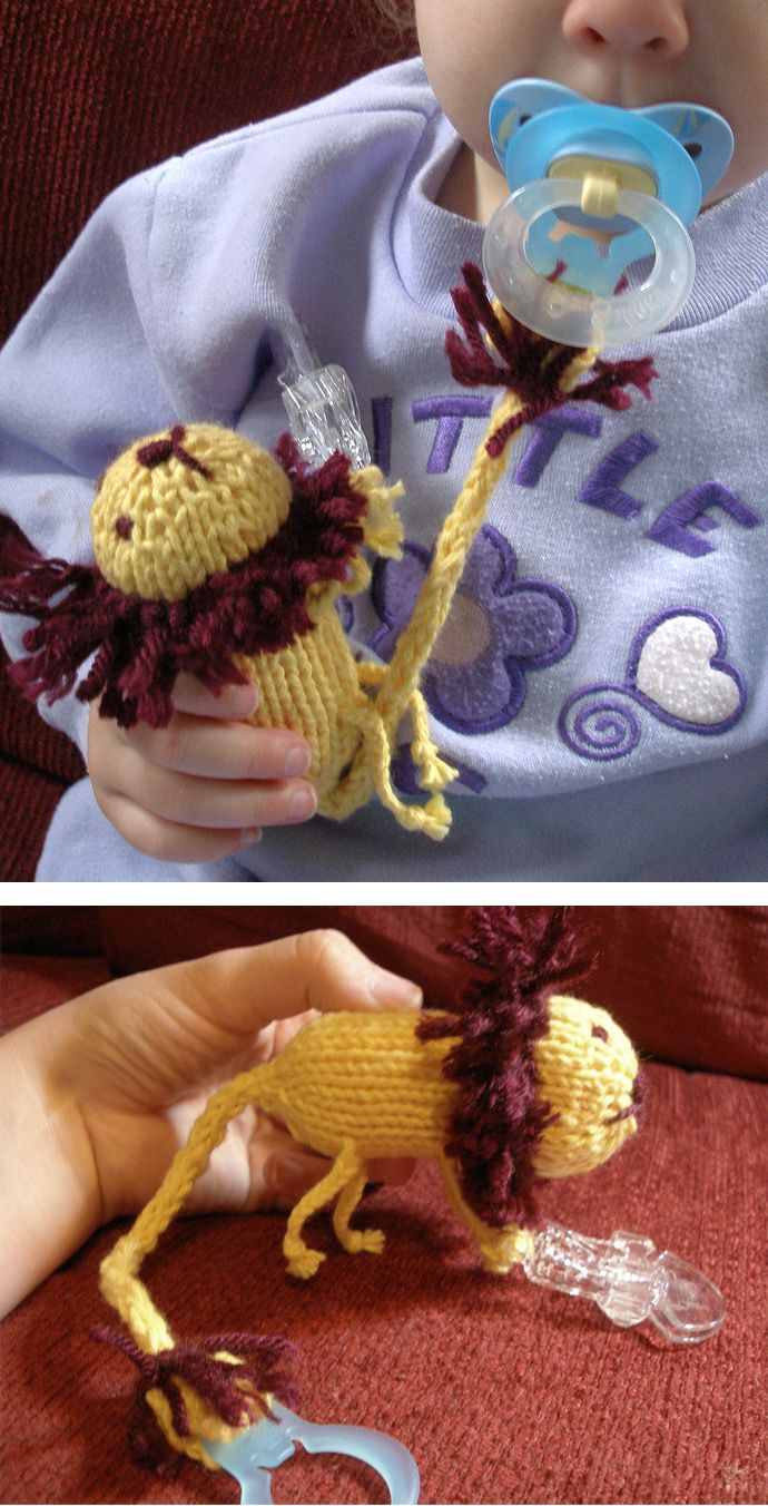Free Knitting Pattern For Lion Pacifier Clip Lion Toy To Attach To