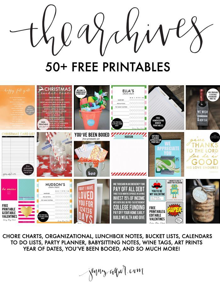 50 Free Printables #50freeprintables The Archives are a new way that I'm organizing the over 50 free printables and downloads that I share. Simply enter your name and email below for instant access! #50freeprintables