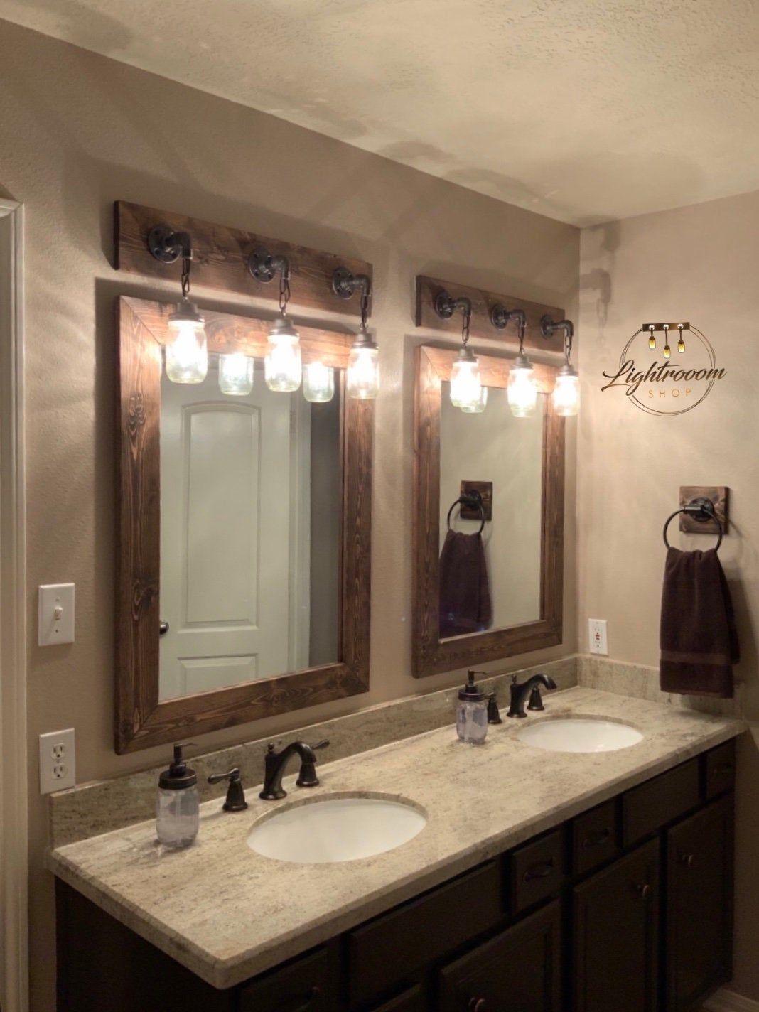 Dark Walnut Mirror Framed Mirror Rustic Wood Bathroom Mirror