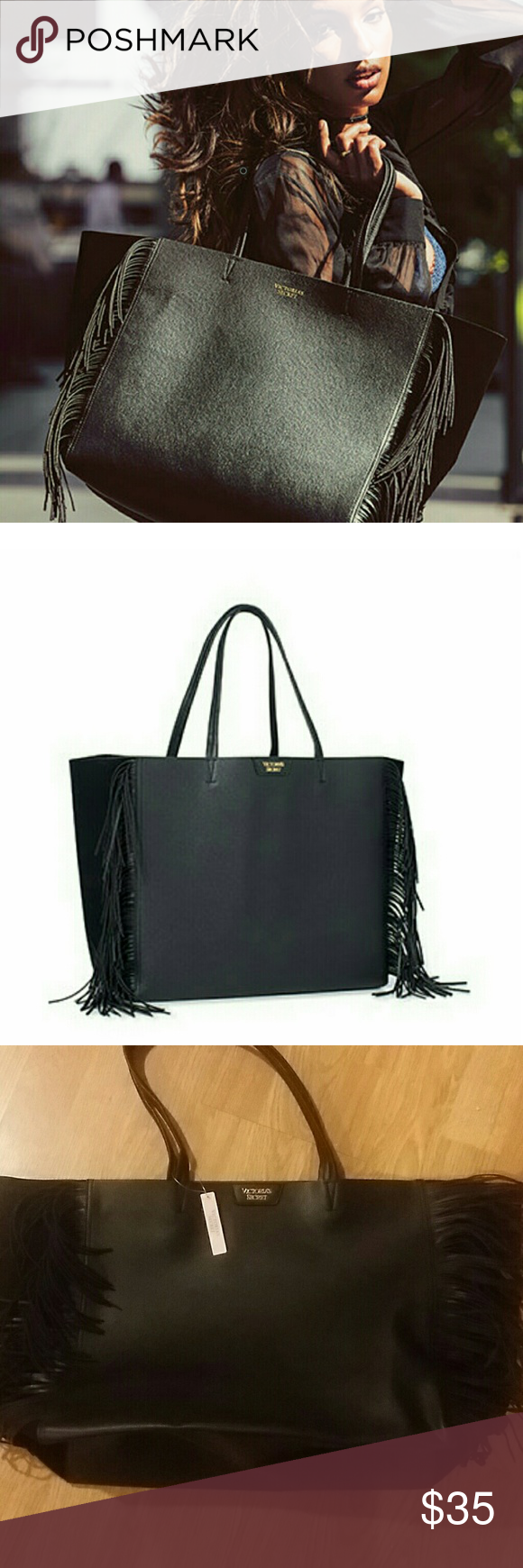 💕NWT Victoria's Secret Fringe Tote 💕  ✅✅✅✅ Black tote bag Victoria's Secret Bags Totes