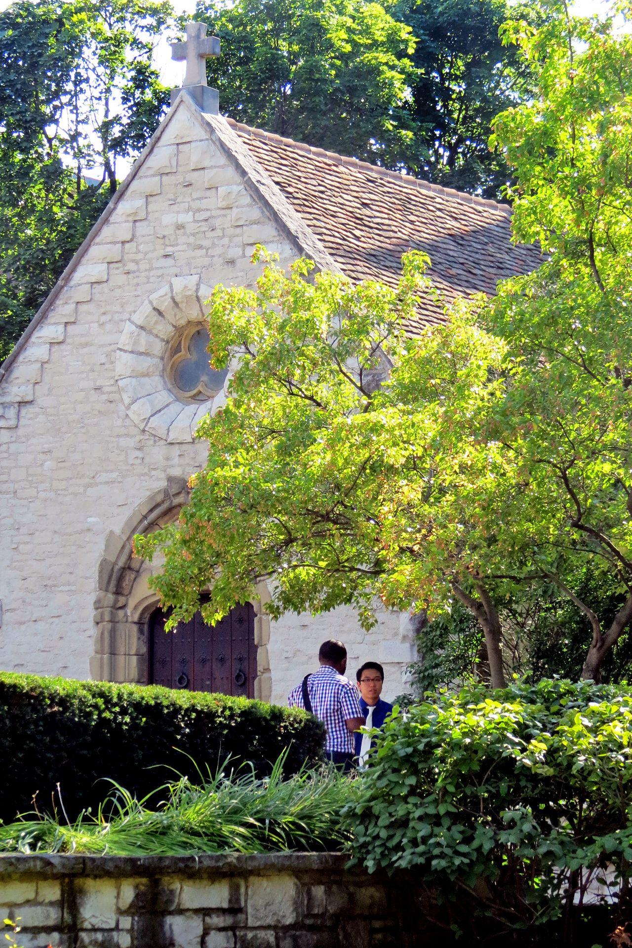 A conversation at Marquette University's St. Joan of Arc Chapel.