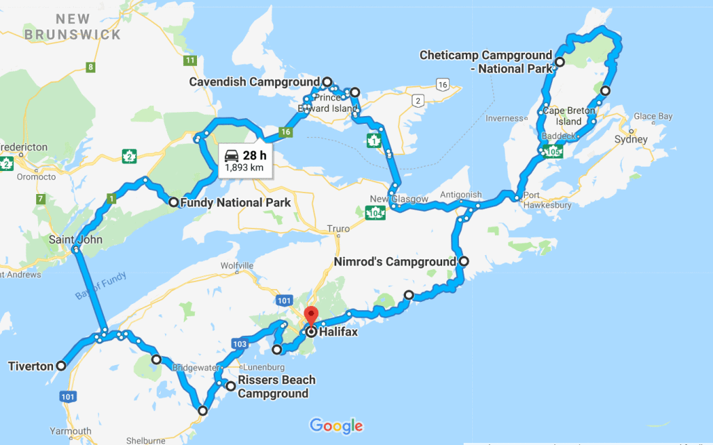 Map East Coast Canada Canadian Maritimes | Canadian road trip, East coast travel, East