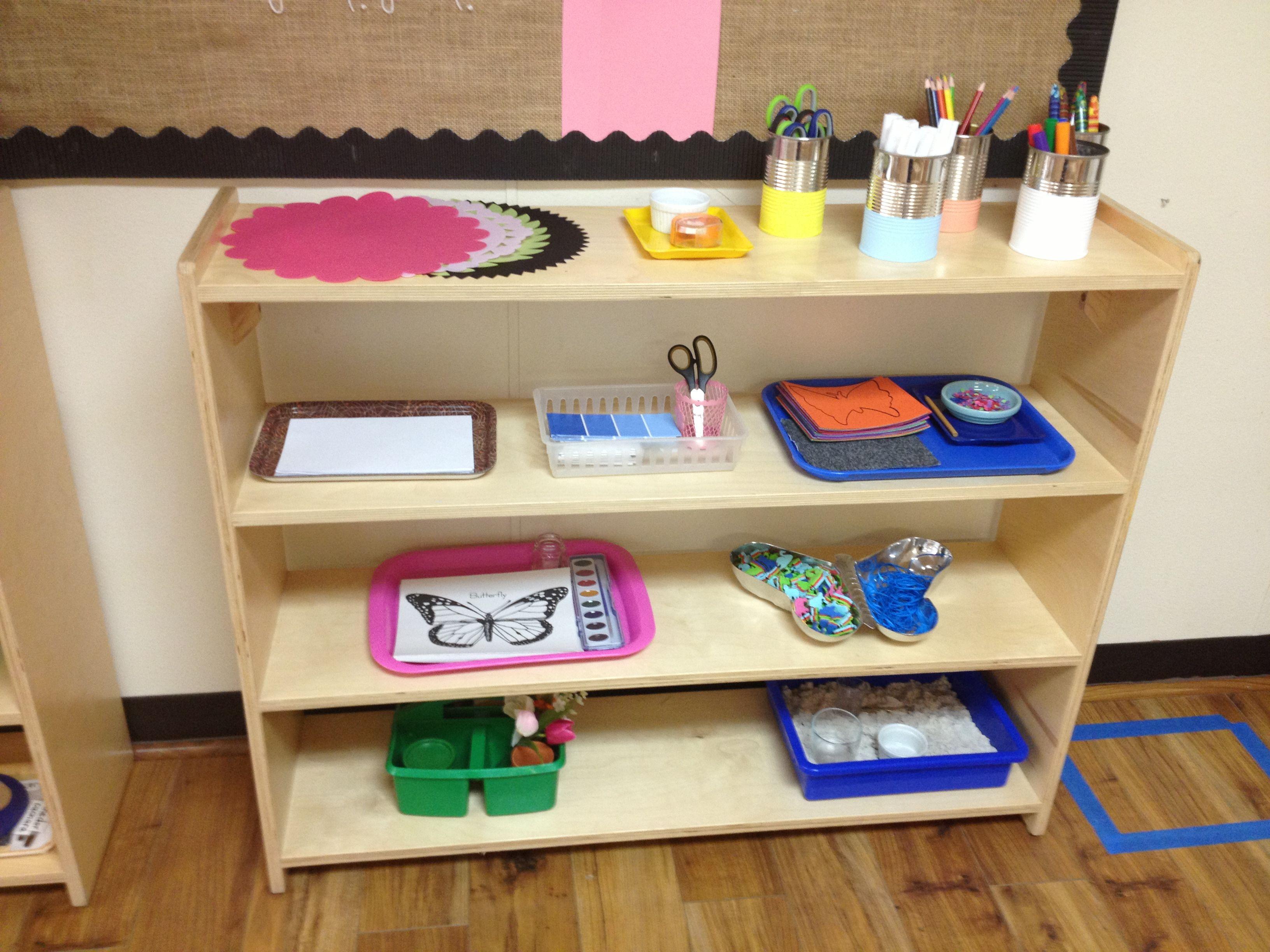 Classroom Shelves Ideas ~ Montessori art shelf each activity should be relevant and