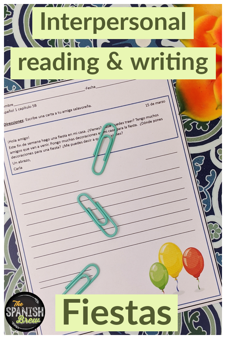 Spanish Interpersonal Reading Writing Worksheet On Parties Colors Vocabulary Spanish Reading Comprehension Spanish Students Spanish Writing [ 1102 x 735 Pixel ]