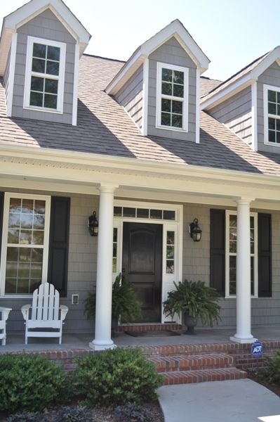 Black door gray shingles white trim hopefully i will - What color door goes with gray house ...
