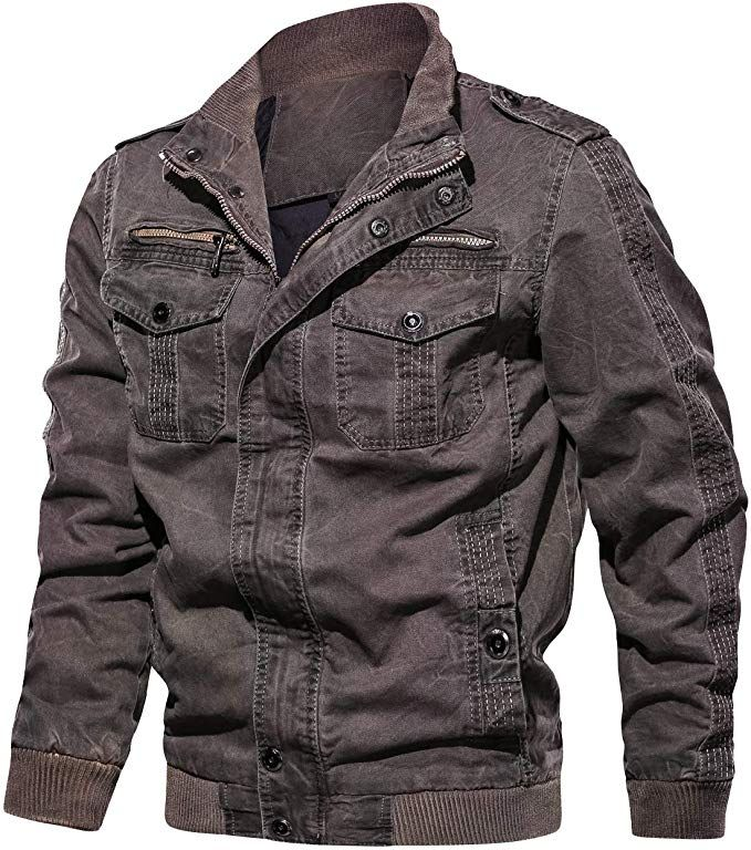Mens Outdoor Military Jacket Casual Cargo Cotton Stand