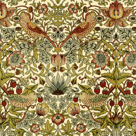 William Morris Strawberry Thief Trianon Cream Fabric By Peacoquettedesigns On Spoonflower