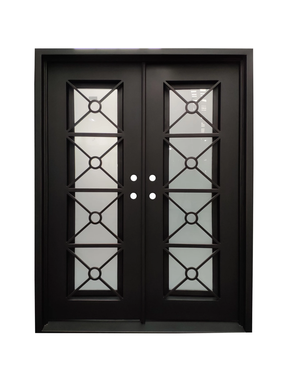 Beverly Hills Double Front Entry Wrought Iron Door Frosted Glass 61.5 x 81.5 #doublefrontentrydoors