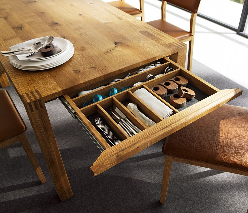 Loft Dining Table By Team 7 Has A Cutlery Drawer And Is Expandable Pedro Tables The Secret To Making Guests Feel Welcome