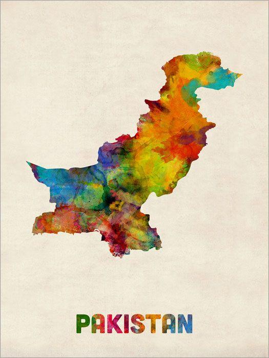 Pakistan Watercolor Map Art Print 1042 Pakistan Art