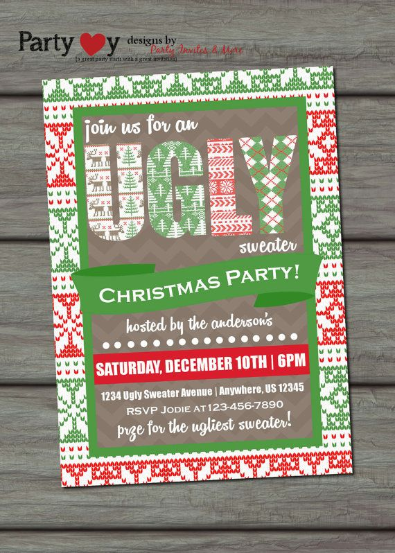 Ugly Sweater Invitation, Ugly Sweater Christmas Party Invitation