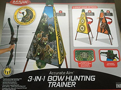 Majik Accurate Aim 3-in-1 Bow Hunting Trainer. Practice your target shooting skills and score points for direct hits. Includes real arcade LCD electronic scoring and sound. Choose from 2 great electronic game options: Trophy Hunt and Bag Limit. Complete with 1 bow with integrated storage and 3 safety stick arrows.