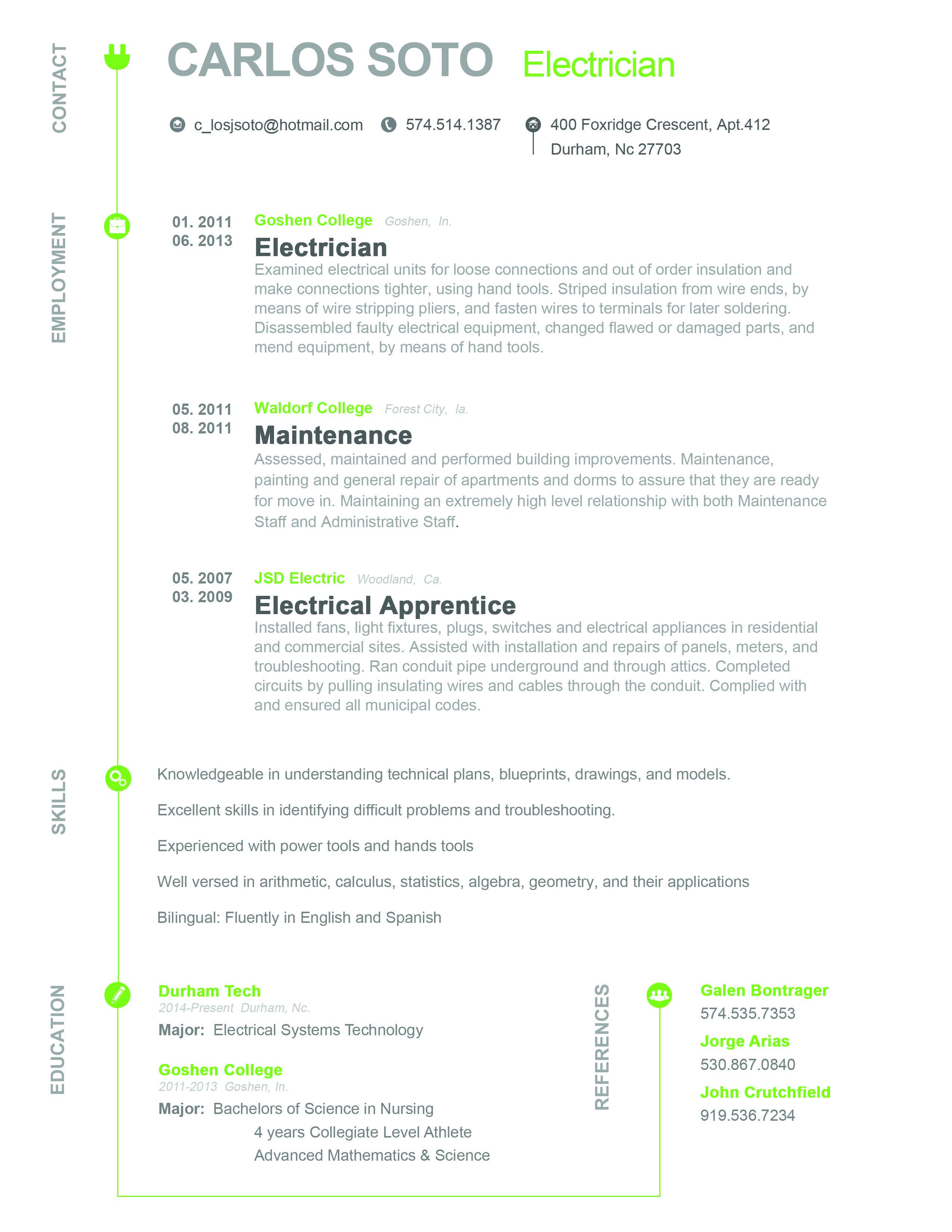 resume  design  electrician