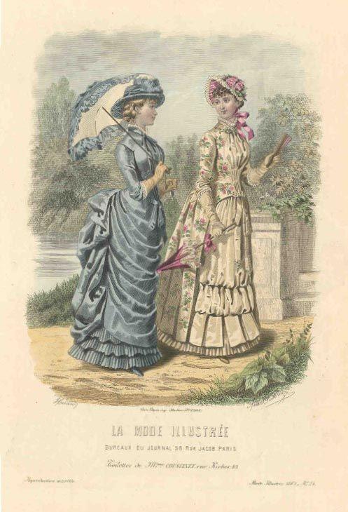 1883 La Mode Illustree cream & pink dress #englishdresses1880
