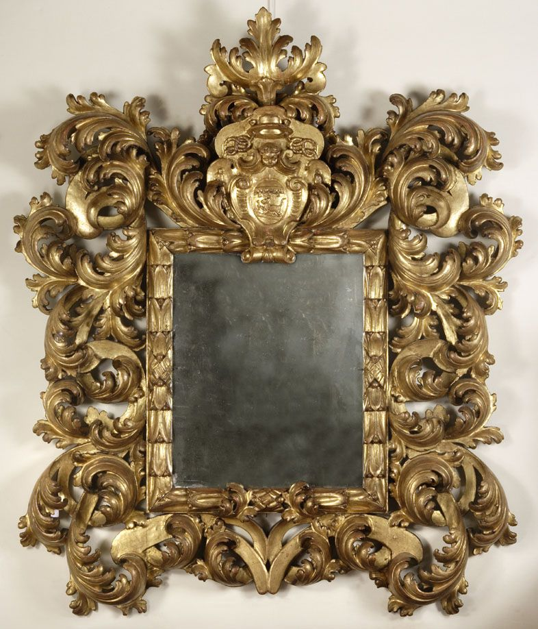 An outstanding Roman mirror with a large Baroque frame in pierced ...
