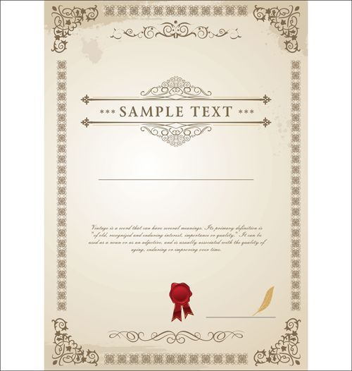 Vector Templates of certificates design set 01 GUI – Certificate Designs Templates