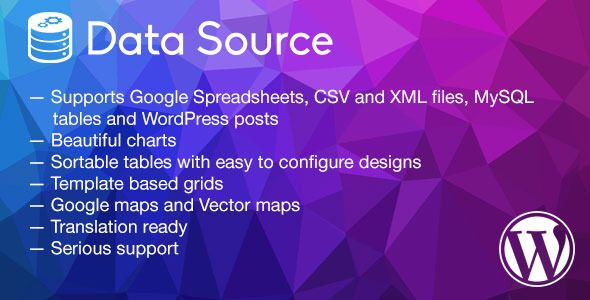 Data Source - charts, tables, maps and data grids  DataSource is a