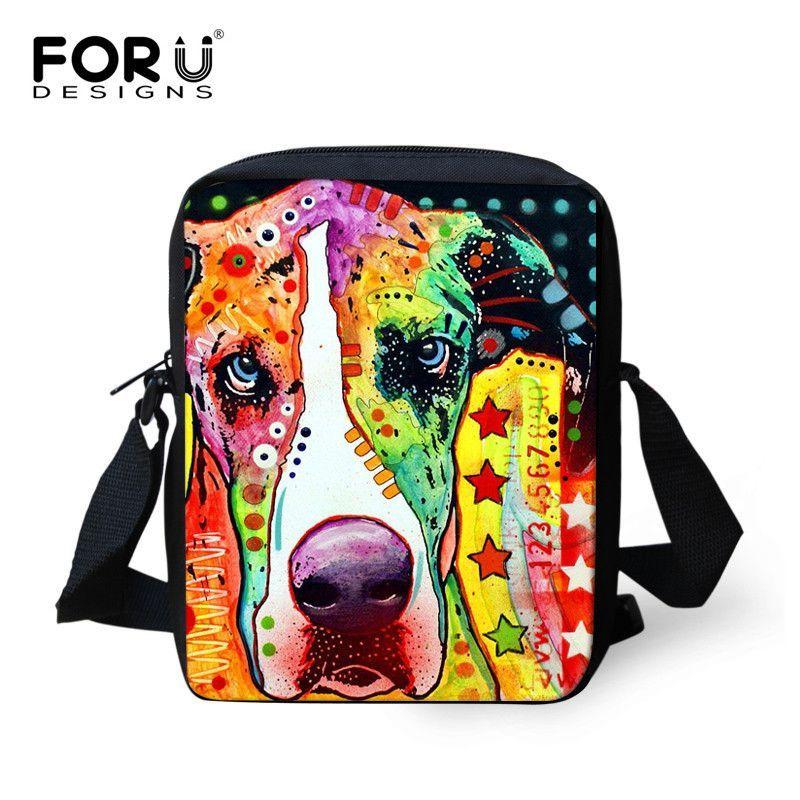 Designer Brand Women Messenger Bags Colorful Pet Cat Dog Printing Shoulder Bag Teenage Girl Cross Body Bag Casual Messenger-bag