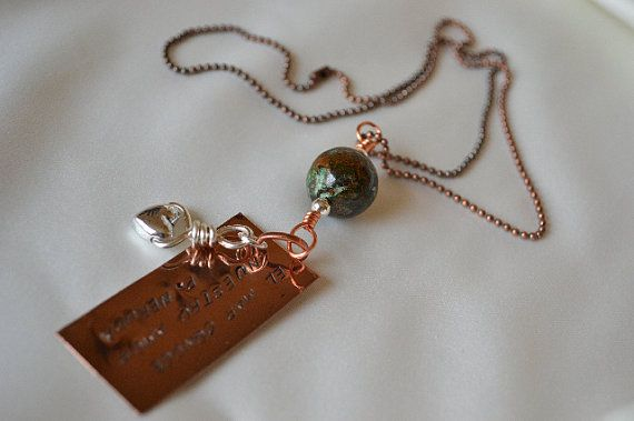 My Love and The Sea copper stamped metal pendant by myartdelice, $15.95