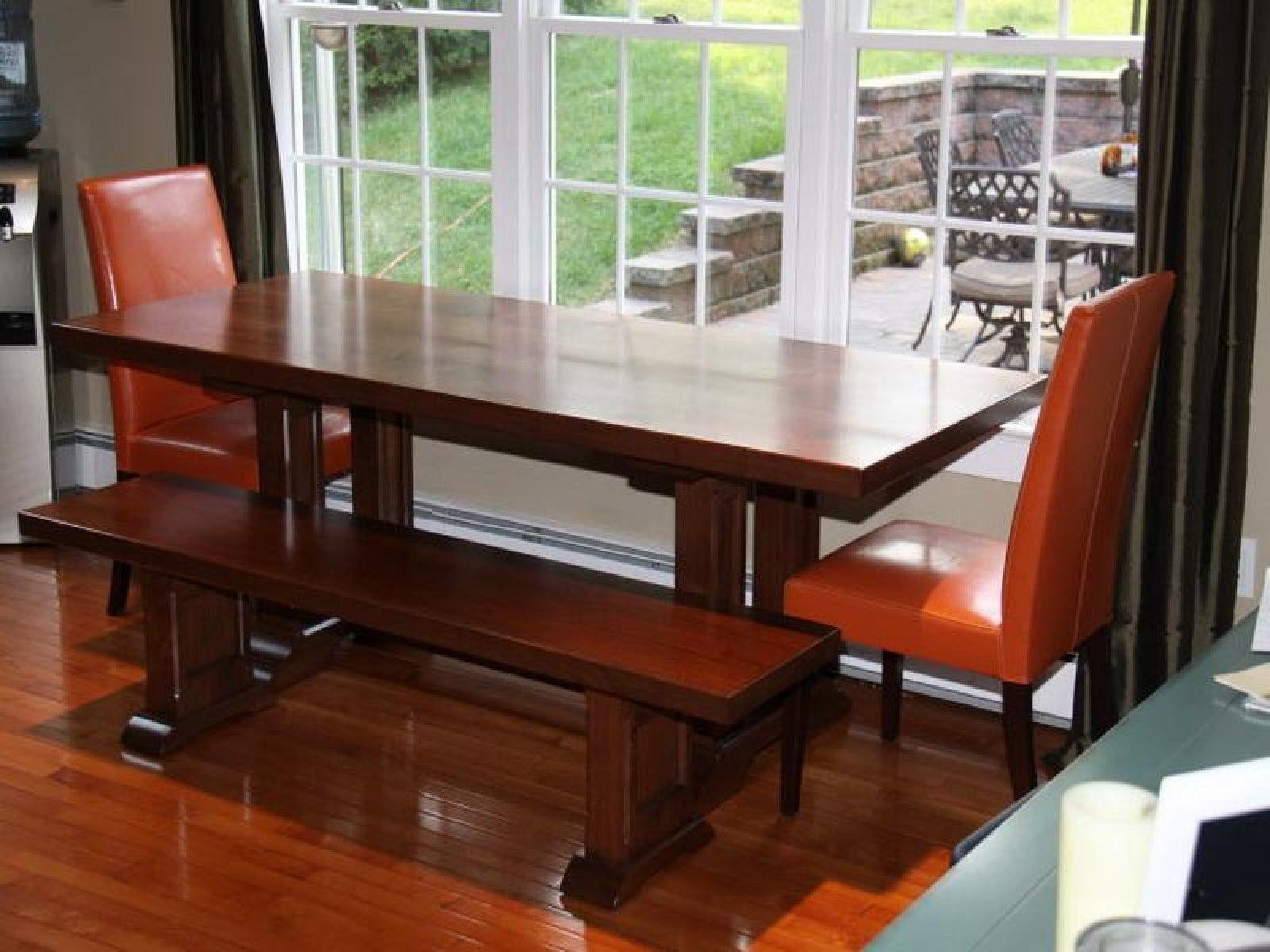 Modern White Polished Metal Based Dining Table With Brown Wooden Mesmerizing Black And Brown Dining Room Sets Inspiration