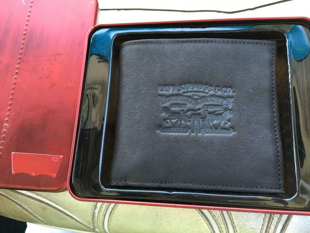 c93917fa5 Levi's Embossed Logo Men's Wallet NEW Dark Brown Leather w/tin box GIFT  Billeteras,