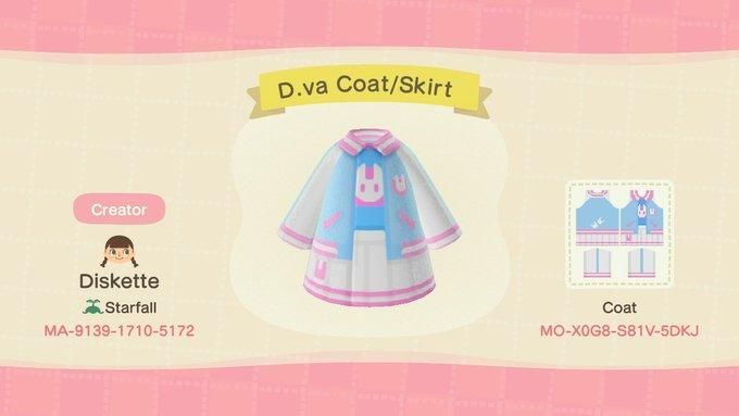 D.va coat and skirt  – Animal Crossing: New Horizons Custom Design