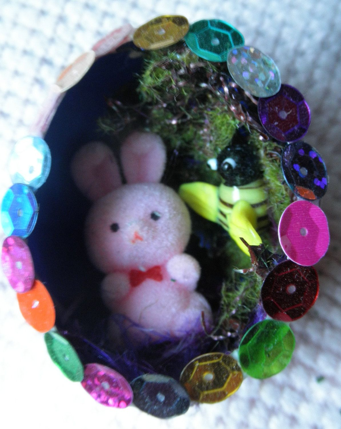 Woodland Fairy Pink Holographic Glittered Chicken Egg Ornament Decoration With Fuzzy Bunny And Bumble