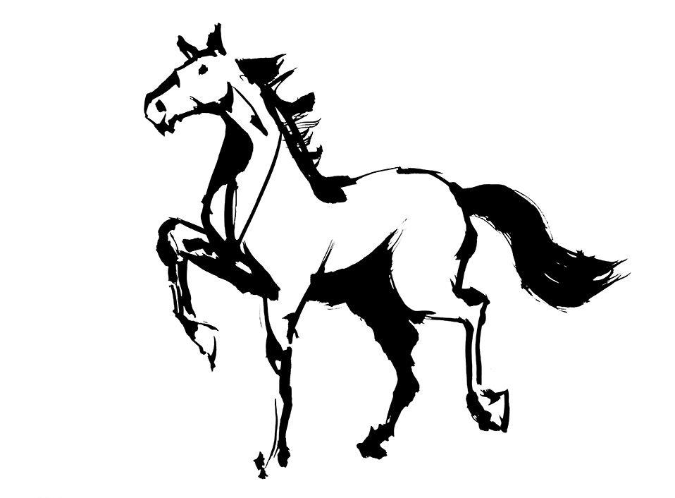 毛筆クロッキー 馬のイラスト 墨 墨画 クロッキー 筆クロッキー