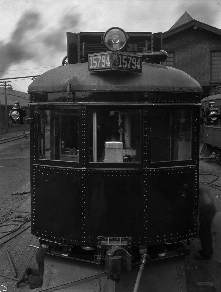 Front view of electric streetcar No. 15794, Montréal