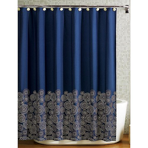 Royal Blue Medallion Shower Curtain Gold Bathroom Decor Gold