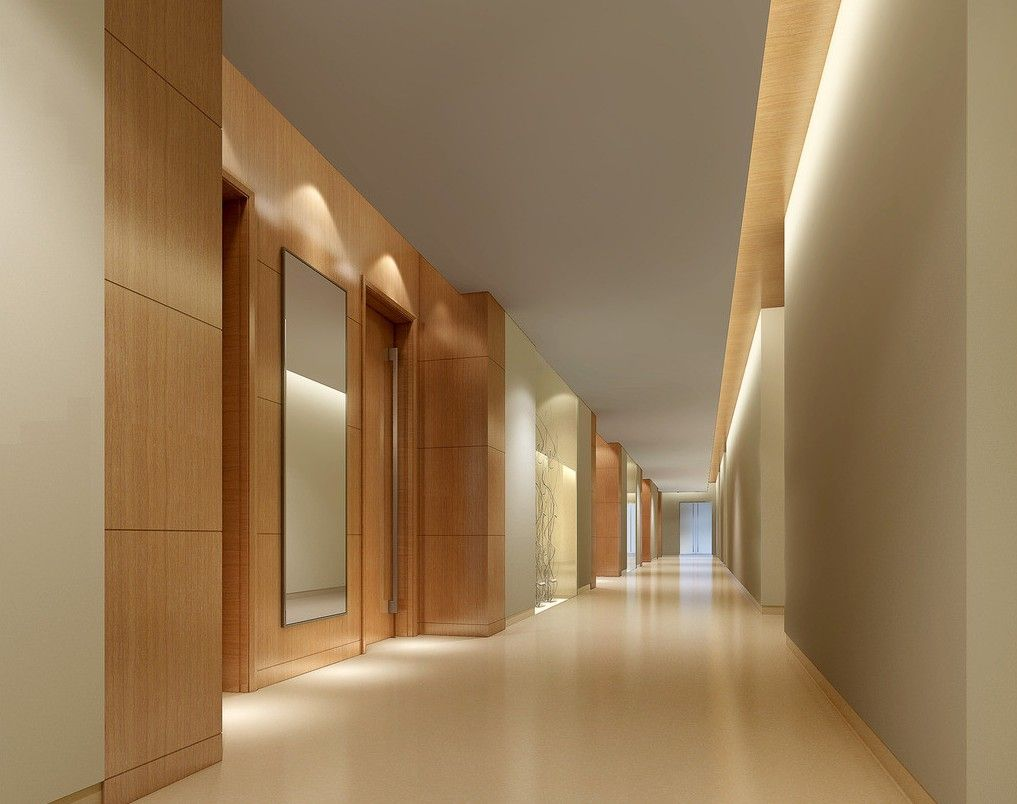 Wood decoration for corridor wall northside lobby for Hotel corridor decor