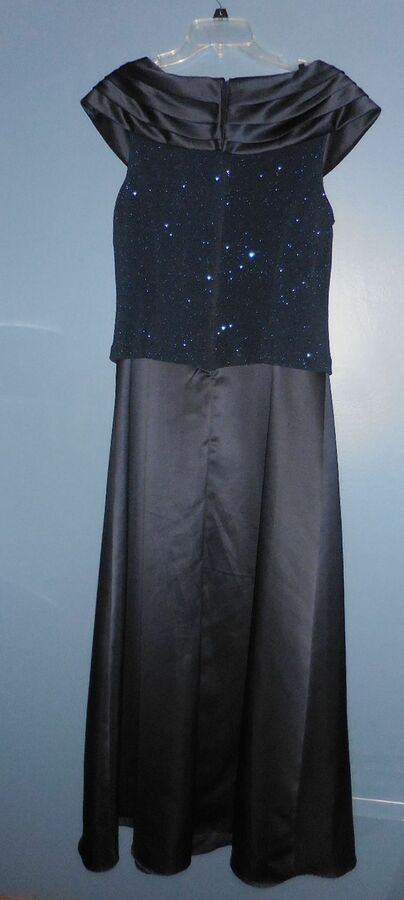 1962850170d PATRA Sz 16 Navy Blue Sparkled Sleeveless Mother of the Bride Formal Maxi  Dress Navy