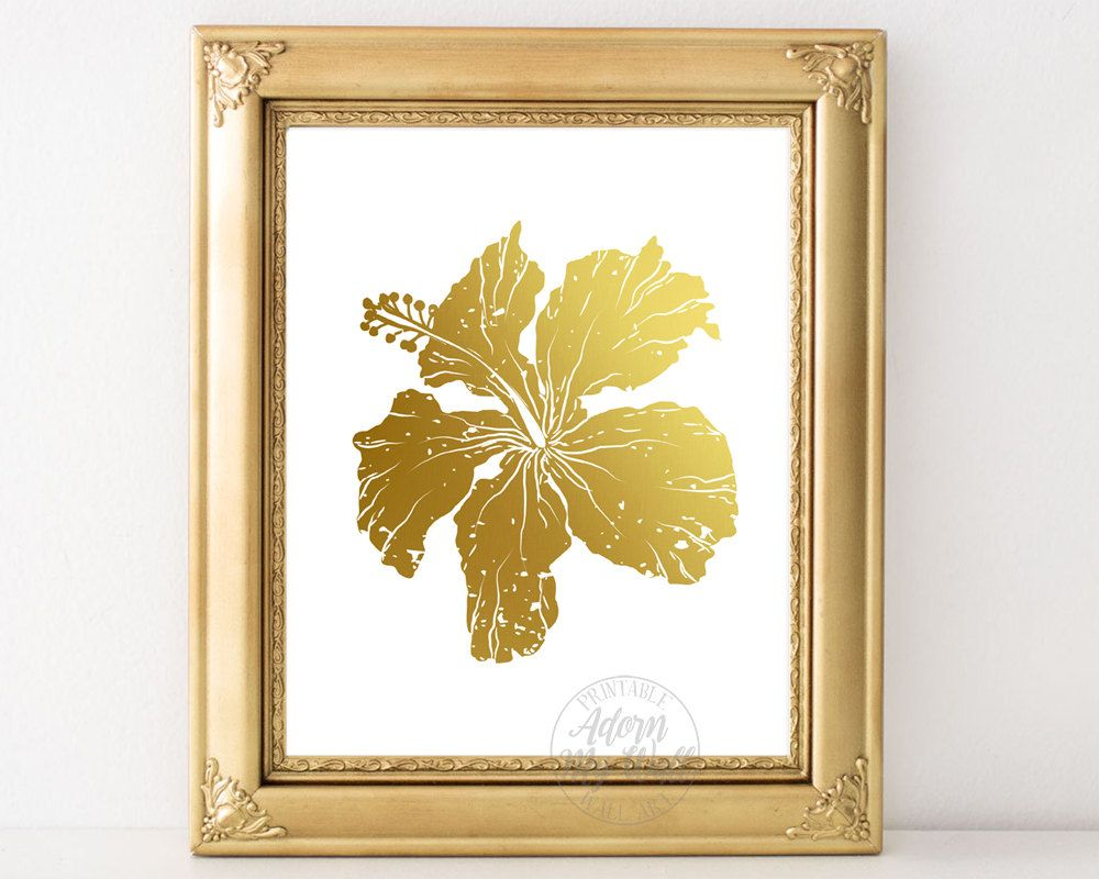 Hibiscus flower, tropical flower, hibiscus print, gold flower ...