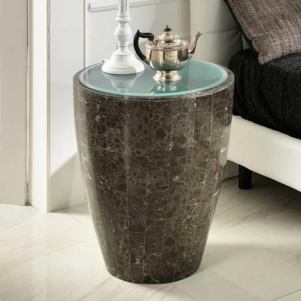 Design Beistelltisch aus Stein Grau Glas Jetzt bestellen unter ...