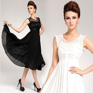 NEW 2014 Sleeveless elegant Lace Chiffon swag women dresses Fashion female Evening Ball Gown sexy costumes Dress Black and white