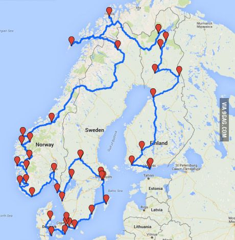 I Think This Could Be A Great Scandinavian Road Trip What Do You Guys Think Road Trip Map Europe Trip Itinerary Road Trip