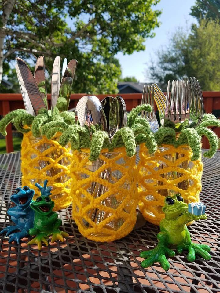 Photo of Pineapple Mason Jar Cover | Free Crochet Pattern | Hooked by Kati