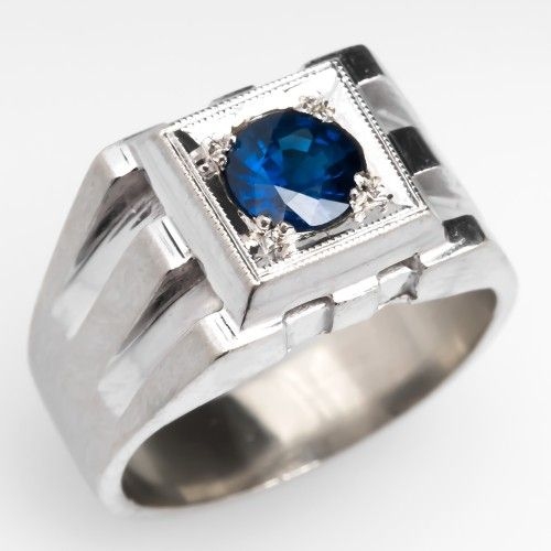 vintage mens blue sapphire ring a man and his money. Black Bedroom Furniture Sets. Home Design Ideas