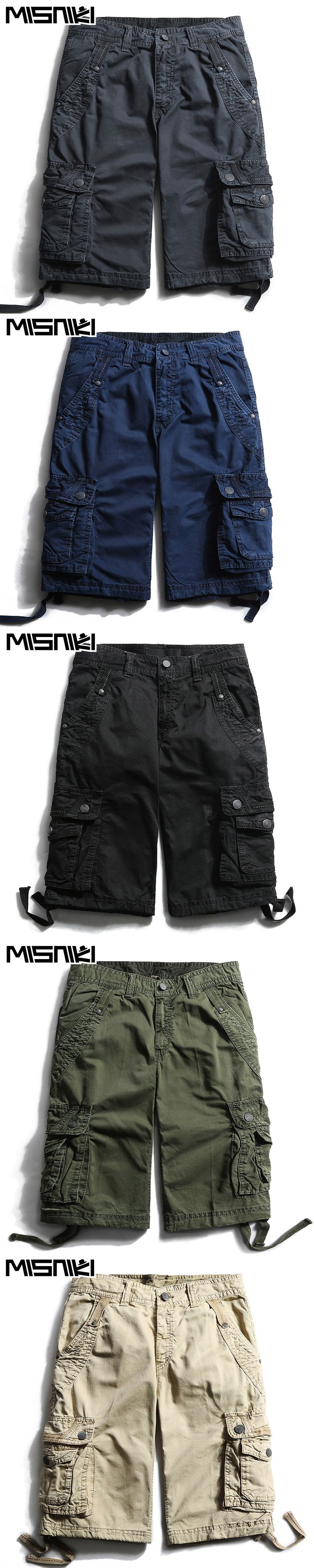 6736b021d3 MISNIKI High Quality Cotton Cargo Shorts Men Casual Slim Multi-pocket  Military Shorts Mens