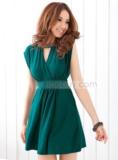 6619507cf Vestido Cuello en V Corta